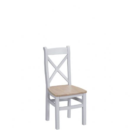 Toulouse Grey Cross Back Chair Wooden Seat